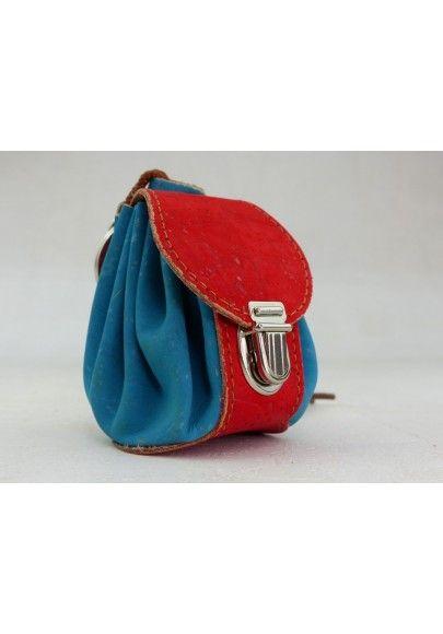 Mini Rucksack aus Kork / Türkis - Schlüsselmäppchen