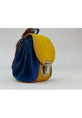 Mini Rucksack aus Kork / Royal Blau - Schlüsselanhänger