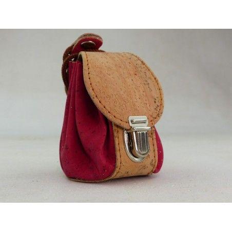 Mini Rucksack aus Kork / Fuchsia - Schlüsselanhänger
