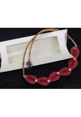 Blatt Halskette aus Kork - Schmuck