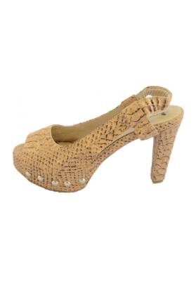 Sling Sandalette in Phyton Look - Korkschuhe