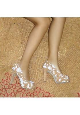 kork High Heels - mit Blumenornament bestickt - Korkschuhe
