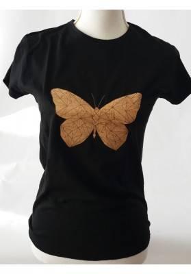 T-Shirt - Korkapplikation Schmetterling - Bekleidung
