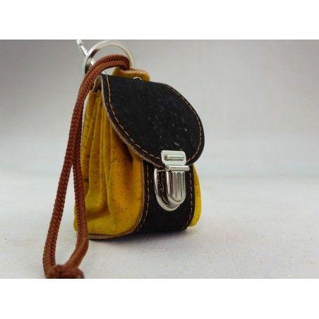 Mini Rucksack aus Kork / Mustard - Schlüsselanhänger